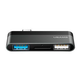 HUB USB 3 PUERTOS 2XUSB + MICRO SD GRIS USAMS