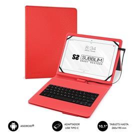 "FUNDA CON TECLADO MICRO USB - USB C KEYTAB PRO USB 10,1"" RED SUBBLIM"