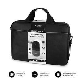 "MALETÍN CON RATÓN SELECT PACK WIRELESS MOUSE USB + LAPTOP BAG 15,6"" SUBBLIM"