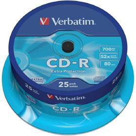 TARRINA 25 UNIDADES CD-ROM  DATALIFE 52X 700MB TARRINA VERBATIM