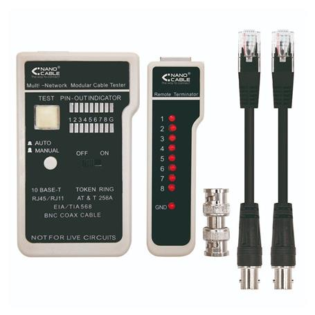 TESTER PARA CABLE RJ11 RJ12 RJ45 Y COAXIAL CABLES STP UTP NANOCABLE